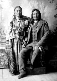 Rain-in-the-Face, Dakota Chief and wife Sati. Photograph taken on their wedding day, 1889.