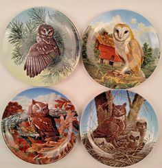 Stately Owls Set of 4 Porcelain Collector Plates Jim Beaudoin Preserv Birds Prey