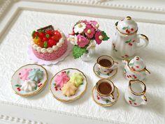 Dollhouse Miniature High Tea Set Cake Cookies Tea pot by BEADSPAGE