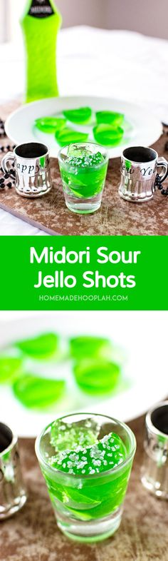 Midori Sour Jello Shots! Jello shots infused with the taste of Midori Sour, giving them a sweet melon flavor. What's not to love? | HomemadeHooplah.com