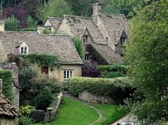 cottage ~ love the stone fencing!