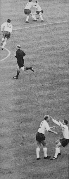 26th July 1966. England players wildly celebrating Bobby Charlton's opening goal against Portugal in the World Cup Semi Final, at Wembley.