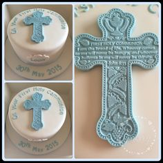 Boys communion cake. First holy communion cake with cross.