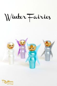 These cute little winter fairy peg dolls are simple to make. They are perfect for pretend play, nature tables, fairy gardens, and home decor.