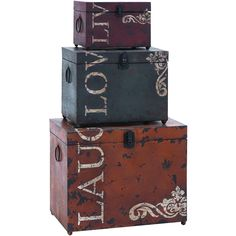 decor, metal, storag trunk, trunk set, trunks, inspirational quotes, box, chic design, guest rooms