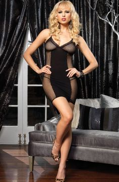Leg Avenue Fishnet Halter Dress £15.69 A sexy night-time fishnet halter dress with lace trim and opaque centre panel.  www.townoftoys.co.uk