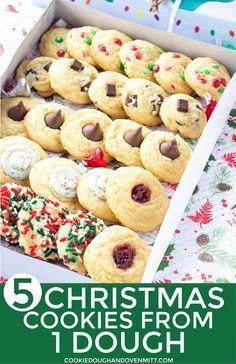 Five Christmas Cookies One Dough - Use one dough to make an entire Christmas cookie box for gifts. Add chocolate chips, m&m's, kisses, jam, or roll them in sprinkles! #christmascookies #christmas #christmasrecipes