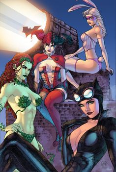 Ace-Continuado, J-Skipper, artist, white rabbit, Gotham City Sirens, Gotemskie siren, DC Comics, DC Universe, the universe DiSi, fandom, Harley Quinn, Harley Quinn, Harlin Kvinzel, Poison Ivy, Poison Ivy, Pamela Isley, Catwoman , Catwoman, Selina Kyle