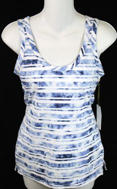 Saint Tropez West Womens Sleeveless Tank Top Striped Size Extra Small Blue White in Clothing, Shoes & Accessories, Women's Clothing, Tops & Blouses | eBay