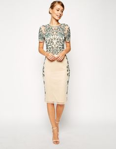 :Beaded floral midi dress from Asos