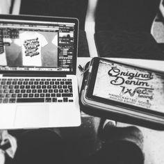 The train is my office today #alsdesignstudio #thedustyinklab #aksellarsen #whitetee #9000 #aalborg #denmark #danish #iloveprints #printnerd #print #vintage #worn #wornout #texture #grunge #denim #denimwear #jeans #jeanswear #vintagestyle #vintagefashion #artwork #sketch #drawing #digital #ink #lettering #new #ipadpro