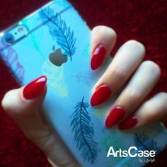 """It's all about #style!  #Repost @cksullivan14 """"Holiday nails! Also changed to almond shape! Loving it and this cute phone case! """"  Excellent combination! Thanks for sharing your picture !Remember if you want to appear in our social media all you have to do is mention us (@ArtsCase) and well repost you! Show us your #ArtsCase  #newnails #almondshapenails #acrylicnails #holidays #darkscarlet #artscase #LAliving #hollywood #weho #feathers #nails #LAgram #iPhone #apple #ios #iPhone7 #instaiPhone"""