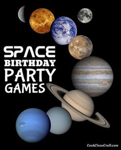 Birthday Party Games Party Games for a Space-Themed Kids Birthday Party - great ideas for boys and girls!Party Games for a Space-Themed Kids Birthday Party - great ideas for boys and girls! Party Themes For Boys, Kids Party Games, Birthday Party Games, Party Activities, Boy Birthday, Birthday Ideas, Birthday Crafts, Space Games For Kids, Birthday Recipes
