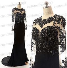 100% handmade beading/crystal evening dress,black long sleeve evening/formal women dress,long prom dress,mermaid evening dress