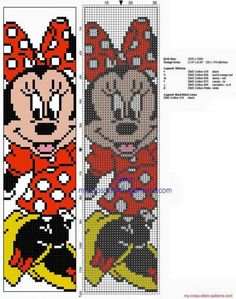 Cross stitch children bookmark with Disney Minnie Mouse - free cross stitch patterns simple unique alphabets baby Disney Cross Stitch Patterns, Counted Cross Stitch Patterns, Cross Stitch Charts, Cross Stitch Designs, Cross Stitch Embroidery, Embroidery Patterns, Hand Embroidery, Disney Bookmarks, Bookmarks Kids