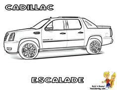 Cadillac Escalade SUV Coloring Sheets To Print At YesColoring.com.