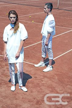 Tennis court, sportswear, fitness, sport luxe, campaign photos, summer trends, unisex, mint dress, white sheer pants, white bomber jacket.  Order via facebook, pm or e-mail.