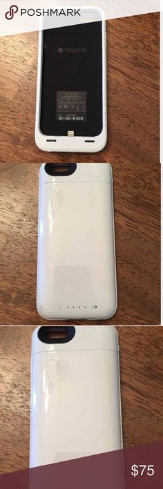 (iPhone 6) Mophie Extra Battery Case; White For iPhone6 Only. Does not fit iPhone 6 Plus. Micro USB Charger is all you need to charge the case, &the phone at the same time. (Refer to 1st photo, lightning charger plug built into case. Case doesn't need to come off to charge iPhone. In excellent working condition! Only flaw is the case has a scratch on the outer shell. Top piece of case I just got from warranty. I lost the top piece and they replaced it. Top piece in new condition- the bottom…