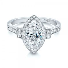 Custom Marquise Diamond Halo Engagement Ring #101998