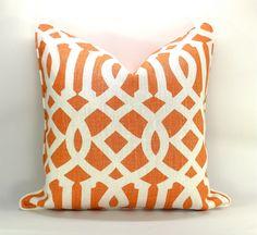 Pair of TWO Kelly Wearstler Imperial Trellis pillow covers in Mandarin - 18 x 18  $150