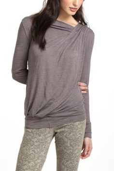 Draped Shoulder Slub Top