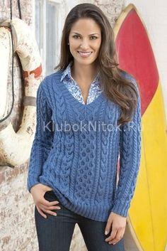 Синий свитер аранами | Вязание для женщин | Вязание спицами и крючком. Схемы вязания.