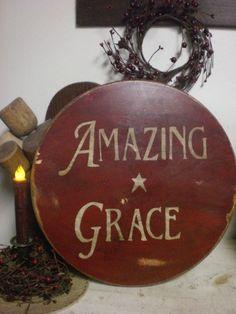 Primitive Colonial Red Wooden Lazy Susan w/ Amazing Grace~ Wood #NaivePrimitive