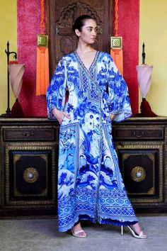 Blue and White Chinoiserie Print Long Robe in 2019  562561e99
