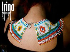 seed bead collar, necklace, art, craft, beadwork, kryza, lemko, DIY, white, yellow, blue, green, orange, red, http://irina-haluschak.blogspot.com/