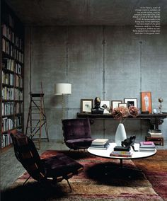 berlin home library in elle decor The color draws you in whether you love mid century or not...I DO