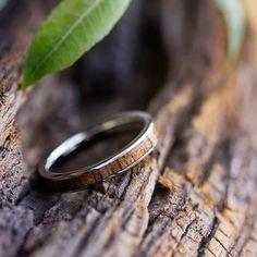 Koa Wood Wedding Band 14k White Gold Ring Gold Wedding Band