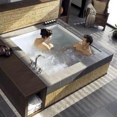 Consonance Two Person Whirlpool Bathtub by french_violet Jacuzzi Bathroom, Bathtub Drain, Jacuzzi Tub, Steam Showers Bathroom, Bathroom Tubs, Bathrooms, Bathtub Cleaner, Big Bathtub, Bath Tubs