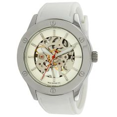 """Breda Women's 1450_wht """"Addison"""" Mechanical See-Through Rubber Strap Watch Breda. $37.80. Highest standard Mechanical- Hand- Winding movement. Water-resistant - not recommended to take into deep water or shower. White rubber strap with adjustable silver buckle. Silver bezel with 6 etched screws for a sporty look. Exhibition (see-through) front dial window and case back. Save 30%!"""