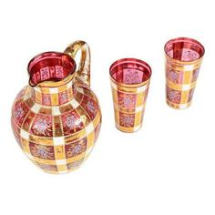 Bohemian Antique Glass Pitcher and 2 Glasses - Set of 2 (€1.130) ❤ liked on Polyvore featuring home, kitchen & dining, drinkware, decanters, glass drinkware and glass set