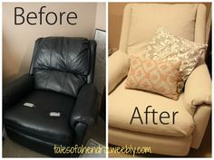 Reupholstering a Recliner Chair. It only cost $20.00!