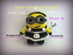 Rainbow Loom FRENCH MAID Minion - Part 2 of 3  Loomigurumi -Amigurumi - Looming WithCheryl Now On Youtube. ( Designed By Jess Davies also know as @ craftlover17 on Instagram. Minions / Figures / Loomigurumi / Crochet / Amigurumi / Plushie / Doll / Toy / Looming With Cheryl