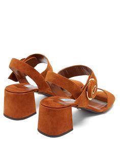 Dreamy Prada tobacco suede block heel sandal.