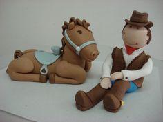 Cowboy and Horse fondant figures No tutorial :( Love Cake Topper, Fondant Cake Toppers, Fondant Cakes, Cupcake Cakes, Cupcakes, Cupcake Ideas, Cowgirl Party, Cowboy And Cowgirl, Cowboy Horse