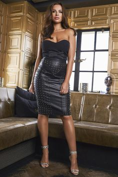 Studded black leather pencil skirt