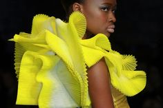 """Julien Fournié Pleated yellow and white tulle top """"anemona""""."""