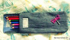 Make a pencil case from a piece of an old pair of jeans with this tutorial by Maz Kwok.
