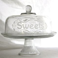 Etched Glass Cake Stand Sweets domed cake by MilkandHoneyLuxuries $70.00 & Cake Stands Pedestals u0026 Serving Sets | Glass domes Cake dome and Cake