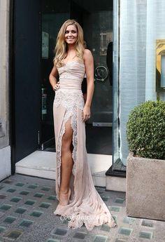 Stunning Side Slit Pearl Pink Lace and Chiffon Long Ball Dress