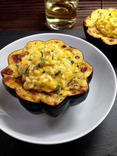 Pumpkin risotto stuffed acorn squash by Culinary Ginger