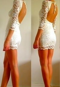 White lace dress open back. Good for the reception dress. You could change from wedding dress to reception dress. Lace Dress With Sleeves, Dress Up, Dress Clothes, Gown Skirt, Dress Girl, Short Sleeves, Long Sleeve, Look Fashion, Fashion Beauty