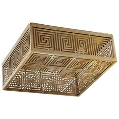 The Allison ceiling mount shines in modern spaces with a twist on Greek key patterning. This box-like fixture in openwork metal…