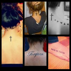 "Variety of christian tattoos. ""Walk by faith"" is my favorite!! :)"