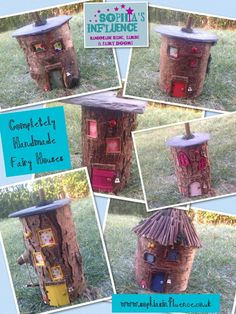 Hello #EcoCreateHour what do you think of our lovely fairy houses?? Made from wood the log man was going to waste.
