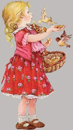 Lisi Martin - little girl feeding birds