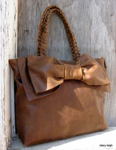 Leather Bow Handbag in Distressed Brown Medium Size by stacyleigh